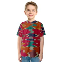 Retro colors distorted shapes Kid s Sport Mesh Tee