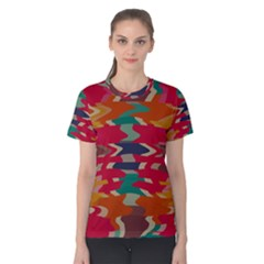 Retro colors distorted shapes Women s Cotton Tee