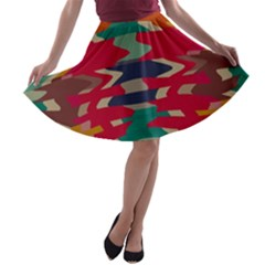 Retro colors distorted shapes A-line Skater Skirt