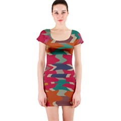 Retro colors distorted shapes Short sleeve Bodycon dress