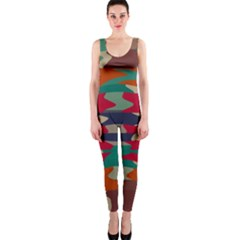 Retro colors distorted shapes OnePiece Catsuit