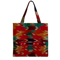 Retro colors distorted shapes Grocery Tote Bag