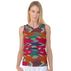 Retro Colors Distorted Shapes Women s Basketball Tank Top