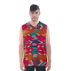 Retro colors distorted shapes Men s Basketball Tank Top