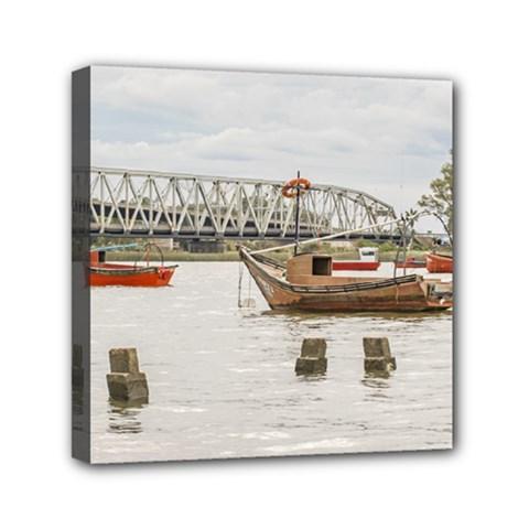 Boats At Santa Lucia River In Montevideo Uruguay Mini Canvas 6  x 6