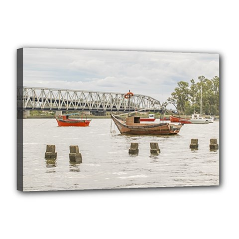 Boats At Santa Lucia River In Montevideo Uruguay Canvas 18  x 12