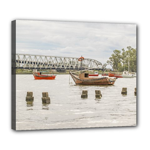 Boats At Santa Lucia River In Montevideo Uruguay Deluxe Canvas 24  x 20