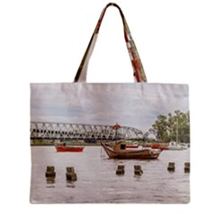 Boats At Santa Lucia River In Montevideo Uruguay Tiny Tote Bags