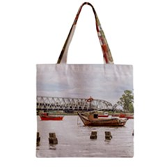 Boats At Santa Lucia River In Montevideo Uruguay Zipper Grocery Tote Bags