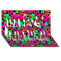 Colorful Leaves Happy Birthday 3d Greeting Card (8x4)