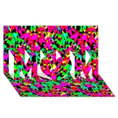 Colorful Leaves Mom 3d Greeting Card (8x4)