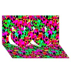 Colorful Leaves Twin Hearts 3D Greeting Card (8x4)