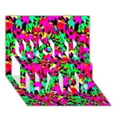 Colorful Leaves Work Hard 3d Greeting Card (7x5)
