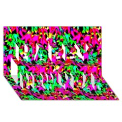 Colorful Leaves Happy New Year 3D Greeting Card (8x4)