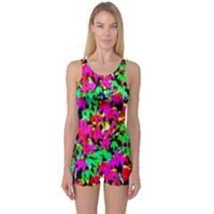 Colorful Leaves One Piece Boyleg Swimsuit