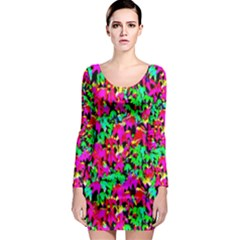 Colorful Leaves Long Sleeve Bodycon Dresses