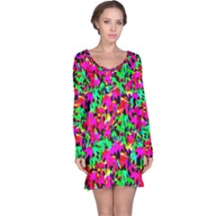 Colorful Leaves Long Sleeve Nightdresses