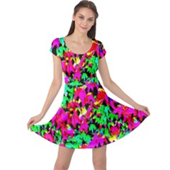 Colorful Leaves Cap Sleeve Dresses