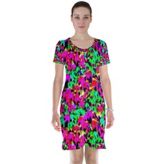 Colorful Leaves Short Sleeve Nightdresses