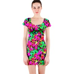 Colorful Leaves Short Sleeve Bodycon Dresses