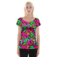 Colorful Leaves Women s Cap Sleeve Top
