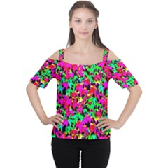 Colorful Leaves Women s Cutout Shoulder Tee