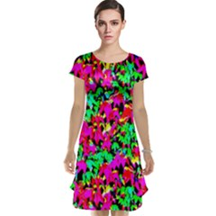 Colorful Leaves Cap Sleeve Nightdresses