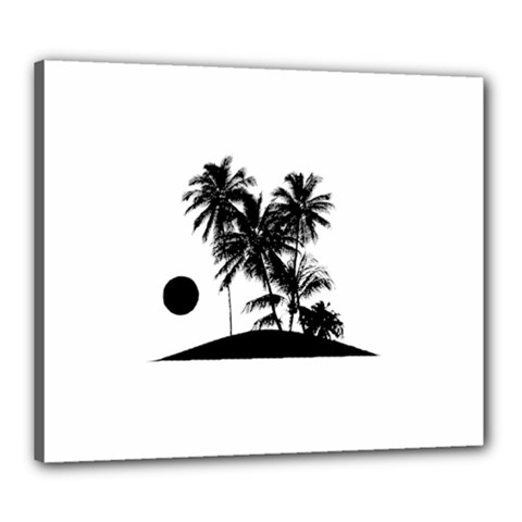 Tropical Scene Island Sunset Illustration Canvas 24  x 20