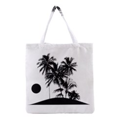 Tropical Scene Island Sunset Illustration Grocery Tote Bags