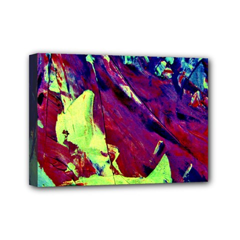 Abstract Painting Blue,yellow,red,green Mini Canvas 7  X 5