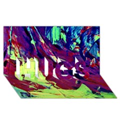 Abstract Painting Blue,Yellow,Red,Green HUGS 3D Greeting Card (8x4)