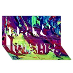 Abstract Painting Blue,Yellow,Red,Green Best Wish 3D Greeting Card (8x4)