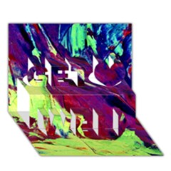 Abstract Painting Blue,Yellow,Red,Green Get Well 3D Greeting Card (7x5)