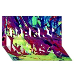 Abstract Painting Blue,yellow,red,green Merry Xmas 3d Greeting Card (8x4)