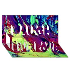 Abstract Painting Blue,yellow,red,green Laugh Live Love 3d Greeting Card (8x4)