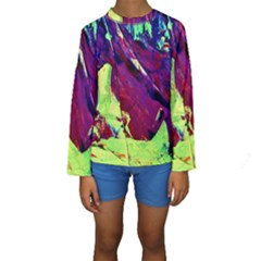 Abstract Painting Blue,yellow,red,green Kid s Long Sleeve Swimwear