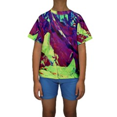 Abstract Painting Blue,Yellow,Red,Green Kid s Short Sleeve Swimwear