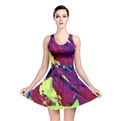 Abstract Painting Blue,yellow,red,green Reversible Skater Dresses