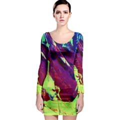 Abstract Painting Blue,Yellow,Red,Green Long Sleeve Bodycon Dresses