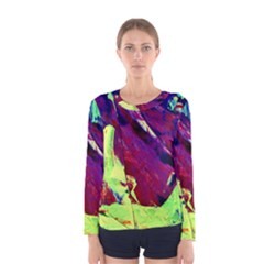 Abstract Painting Blue,yellow,red,green Women s Long Sleeve T Shirts