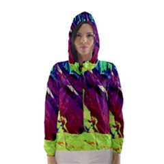 Abstract Painting Blue,Yellow,Red,Green Hooded Wind Breaker (Women)