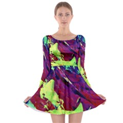 Abstract Painting Blue,Yellow,Red,Green Long Sleeve Skater Dress