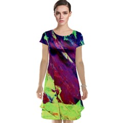 Abstract Painting Blue,yellow,red,green Cap Sleeve Nightdresses