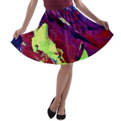 Abstract Painting Blue,Yellow,Red,Green A-line Skater Skirt