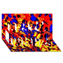 Fire Tree Pop Art Best Wish 3d Greeting Card (8x4)