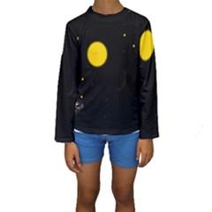 Cycle to the moon Kid s Long Sleeve Swimwear