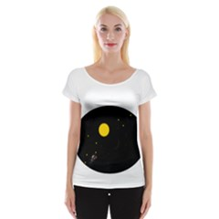 Cycle To The Moon Women s Cap Sleeve Top