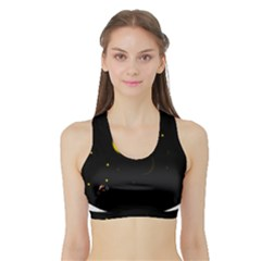 Cycle to the moon Women s Sports Bra with Border
