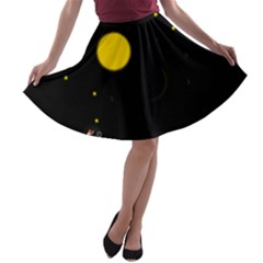Cycle to the moon A-line Skater Skirt