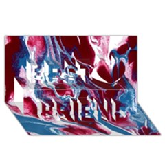 Blue Red White Marble Pattern Best Friends 3D Greeting Card (8x4)
